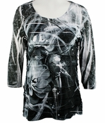 Cubism 3/4 Sleeve Woman's Top, Horizontal Ruffles Round Neck, Multi-Colored, Contrast Front Print - Floral Galaxy