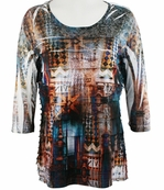 Cubism 3/4 Sleeve Woman's Top, Horizontal Ruffles Round Neck, Multi-Colored, Contrast Front Print - Geometric Village