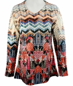 Cubism 3/4 Sleeve Woman's Top, V-Neck, Multi-Colored Sublimation Burnout Print - Aztec Patches