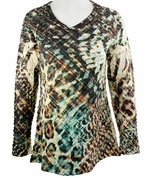 Cubism 3/4 Sleeve Woman's Top, V-Neck, Multi-Colored Sublimation Burnout Print - Crossed Patterns
