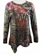 Cubism Long Sleeve, Diagonal  Hem, Woman's Top, Trimmed Scoop Neck, Multi Colored Print - Painted Array