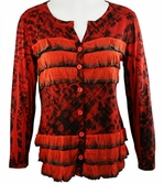 Cubism Long Sleeve Woman's Cardigan, Button Front, Red & Black Colored Horizontal Ruffles with Burn Outs - Gabby Maze