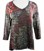 Cubism Long Sleeve Woman's Hi-Low Tunic Top, Multi-Colored Print with Style Seams - Geo Haze