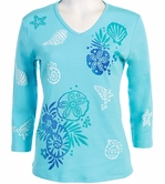 Jess and Jane, 3/4 Sleeve, Hand Block Print, Scoop Neck, Bahama Blue Colored Cotton Fashion Top - Seashell