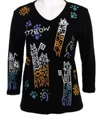 Jess and Jane, 3/4 Sleeve, Hand Block Print, Scoop Neck, Black Colored Cotton Fashion Top - Cats