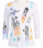 Jess and Jane, 3/4 Sleeve, Hand Block Print, Scoop Neck, White Colored Cotton Fashion Top - Cats