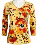 Jess and Jane, 3/4 Sleeve, Rhinestone Accented, V-Neck, Lemon Colored Cotton Fashion Top - Red Petals