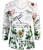 Jess and Jane, 3/4 Sleeve, Rhinestone Accented, V-Neck, White Colored Cotton Fashion Top - Garden Tails