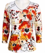 Jess and Jane, 3/4 Sleeve, Rhinestone Accented, V-Neck, White Colored Cotton Fashion Top - Red Petals