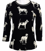 Jess and Jane, 3/4 Sleeve, Rhinestone Highlights, Scoop Neck, Black Colored Cotton Fashion Top - Dog Sketch