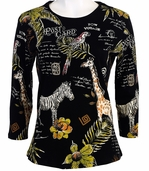 Jess and Jane, 3/4 Sleeve, Rhinestone Highlights, Scoop Neck, Black Colored Cotton Fashion Top - Tropicana - Tropics