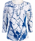 Jess and Jane 3/4 Sleeve, Rhinestone Highlights, Scoop Neck, Blue Fashion Top - Swirls