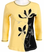 Jess and Jane, 3/4 Sleeve, Rhinestone Highlights, Scoop Neck, Lemon Colored Cotton Fashion Top - Misty