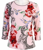 Jess and Jane, 3/4 Sleeve, Rhinestone Highlights, Scoop Neck, Pink Colored Cotton Fashion Top - Graceful