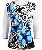 Jess and Jane, 3/4 Sleeve, Rhinestone Highlights, Scoop Neck, White Colored Cotton Fashion Top - Blue Tulip