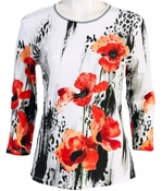 Jess and Jane, 3/4 Sleeve, Rhinestone Highlights, Scoop Neck, White Colored Cotton Fashion Top  - Rising Flowers