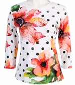 Jess and Jane, 3/4 Sleeve, Rhinestone Highlights, Scoop Neck, White Colored Fashion Top - Polka Dot Floret