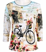 Jess & Jane Floral Bicycle Ivory Top 3/4 Sleeve Scoop Neck Rhinestone Cotton