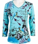 Jess and Jane, 3/4 Sleeve, Rhinestone Highlights, V-Neck, Bahama Colored Cotton Fashion Top - Friendship