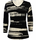 Jess and Jane, 3/4 Sleeve, Rhinestone Highlights, V-Neck, Black Colored Cotton Fashion Top - Scroll Pen