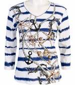 Jess and Jane, 3/4 Sleeve, Rhinestone Highlights, V-Neck, Blue Colored Cotton Fashion Top - Anchor Chain