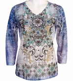 Jess and Jane, 3/4 Sleeve, Rhinestone Highlights, V-Neck, Multi Colored Sublimation Burnout Fashion Top - Blue Medallion
