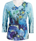 Jess and Jane, 3/4 Sleeve, Rhinestone Highlights, V-Neck, Multi Colored Sublimation Burnout Fashion Top - Desert Garden
