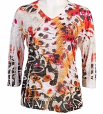 Jess and Jane, 3/4 Sleeve, Rhinestone Highlights, V-Neck, Multi Colored Sublimation Burnout Fashion Top - Hot Colors