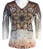 Jess and Jane, 3/4 Sleeve, Rhinestone Highlights, V-Neck, Multi Colored Sublimation Burnout Fashion Top - Medallion