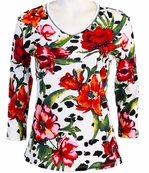 Jess and Jane, 3/4 Sleeve, Rhinestone Highlights, V-Neck, White Colored Fashion Top - Bright Bloom