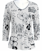 Jess and Jane 3/4 Sleeve, Rhinestone Highlights, V-Neck, White Colored Fashion Top - Italy Flower