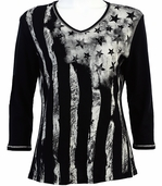 Jess and Jane 3/4 Sleeve, Rhinestone Highlights, V-Neck, Black Colored Patriotic Themed Top - Old Glory