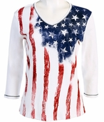 Jess and Jane 3/4 Sleeve, Rhinestone Highlights, V-Neck, White Colored Patriotic Themed Top - Old Glory