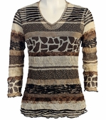 Jess and Jane, 3/4 Sleeve, V-Neck, Cotton Poly Blend Crushed Mesh with Tank Top - Animal Kingdom