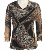 Jess and Jane, 3/4 Sleeve, V-Neck, Cotton Poly Blend Crushed Mesh with Tank Top - Chains