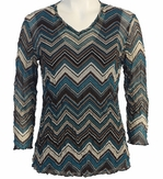 Jess and Jane, 3/4 Sleeve, V-Neck, Cotton Poly Blend Crushed Mesh with Tank Top - Chevron