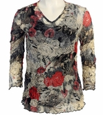 Jess and Jane, 3/4 Sleeve, V-Neck, Cotton Poly Blend Crushed Mesh with Tank Top - Rose News