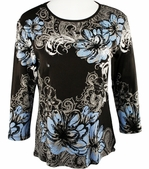 Jess & Jane, 3/4 Sleeve, Hand Block Print, Scoop Neck, Chocolate Fashion Cotton Top - Indigo Floral