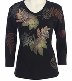 Jess & Jane, 3/4 Sleeve, Hand Block Print, V-Neck, Black Colored Cotton Fashion Top - Leaves