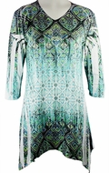 Jess & Jane, 3/4 Sleeve, Rhinestone Accents, Sharkbite Hem, Blue Colored Microfiber Blend Print Fashion Top - Jade