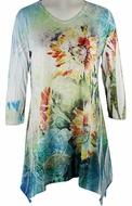 Jess & Jane, 3/4 Sleeve, Rhinestone Accents, Sharkbite Hem, Multi Colored Microfiber Blend Print Fashion Top - Sunflower