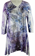 Jess & Jane, 3/4 Sleeve, Rhinestone Accents, V-Neck, Multi Colored Microfiber Blend Print Fashion Top - Faded Glory