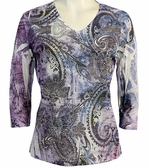 Jess & Jane, 3/4 Sleeve, Rhinestone Accents, V-Neck, Multi Colored Microfiber Blend Print Top - Faded Glory