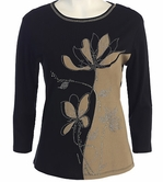 Jess & Jane, 3/4 Sleeve, Rhinestone Highlights, Scoop Neck, Black Colored Cotton Fashion Top - Misty