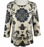 Jess & Jane, 3/4 Sleeve, Rhinestone Highlights, Scoop Neck, Natural Colored Cotton Fashion Top - Pattern Works