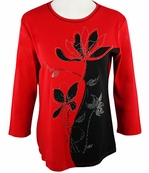 Jess & Jane, 3/4 Sleeve, Rhinestone Highlights, Scoop Neck, Red Colored Cotton Fashion Top - Misty
