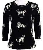 Jess & Jane, 3/4 Sleeve, Rhinestone Highlights, Scoop Neck, Black Colored Cotton Fashion Top - Cat Sketch