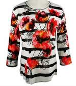 Jess & Jane, 3/4 Sleeve, Rhinestone Highlights, Scoop Neck, White Colored Cotton Fashion Top  - Poppy Stripes