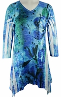 Jess & Jane, 3/4 Sleeve, Rhinestone Highlights, Sharkbite Hem, Blue Colored Microfiber Blend Fashion Top - Abstract Blue