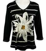 Jess & Jane, 3/4 Sleeve, Rhinestone Highlights, V-Neck, Black Colored Cotton Fashion Top - Lazy Daisy